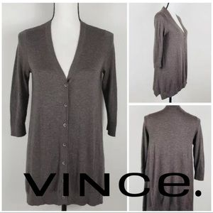 Vince Brown Tunic Button Down Cardigan Sweater